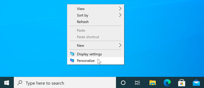 opening the Personalization settings