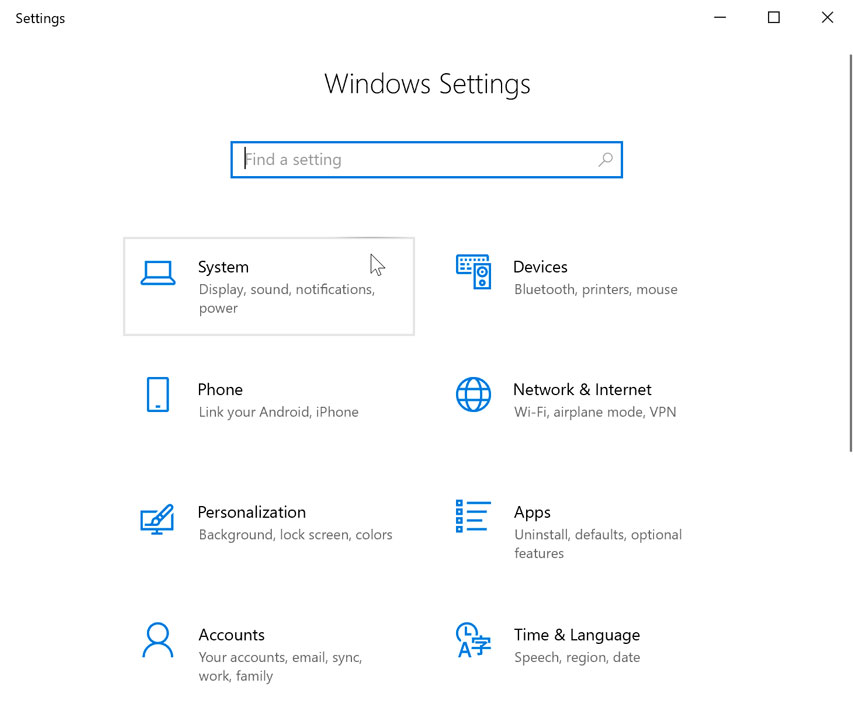 opening the System settings
