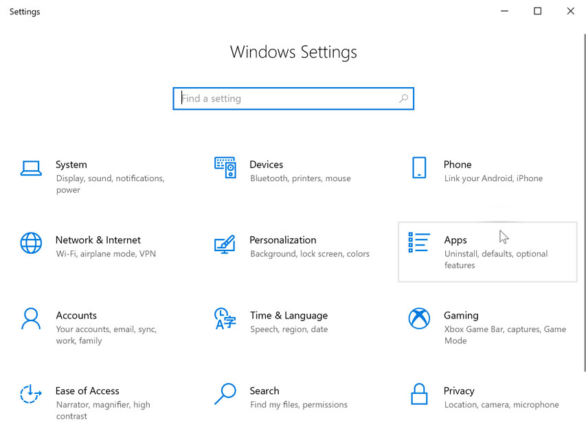 opening Apps settings