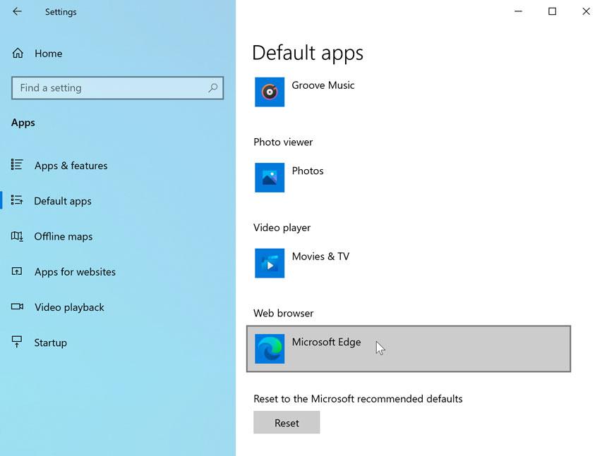 making Microsoft Edge the default web browser