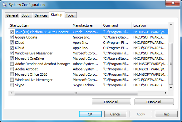 The Startup tab in the System Configuration window.