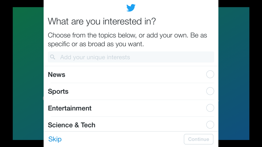choosing interests and people to follow