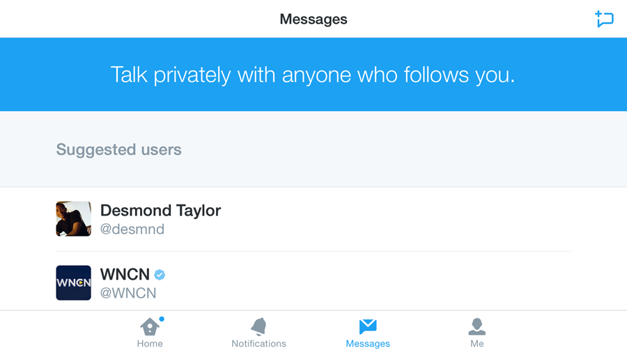 sending a private message on Twitter