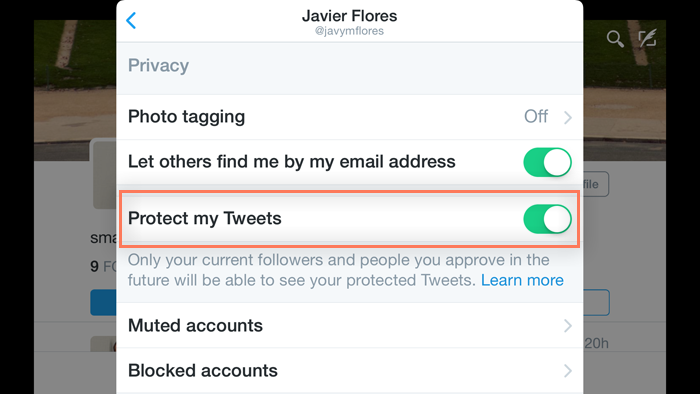 enabling the Protext my Tweets option