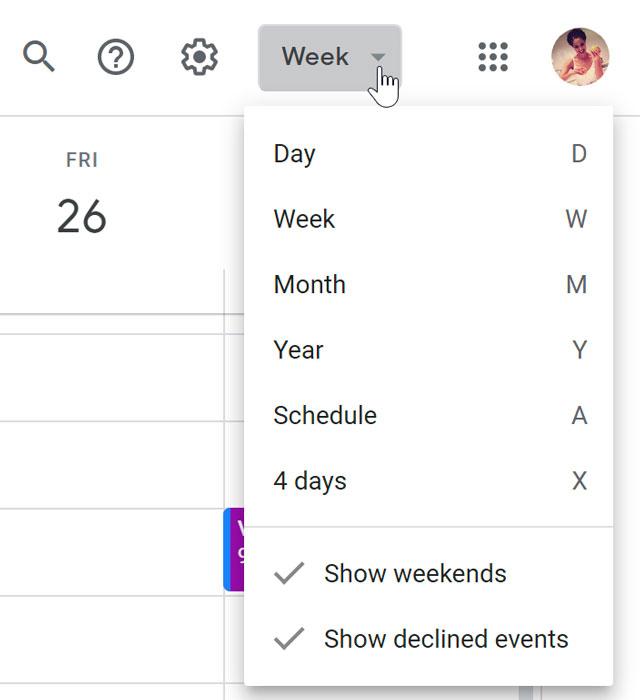 Calendar view modes