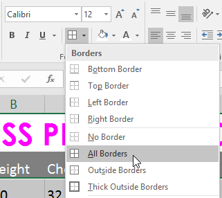 Borders dropdown menu