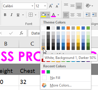 The Fill Color dropdown menu