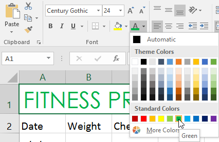 Selecting a color in the dropdown menu