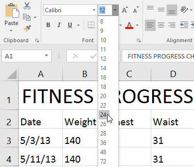 Selecting a font size in the dropdown menu