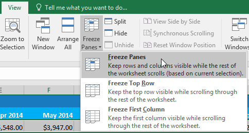 Rows Freeze menu dropdown