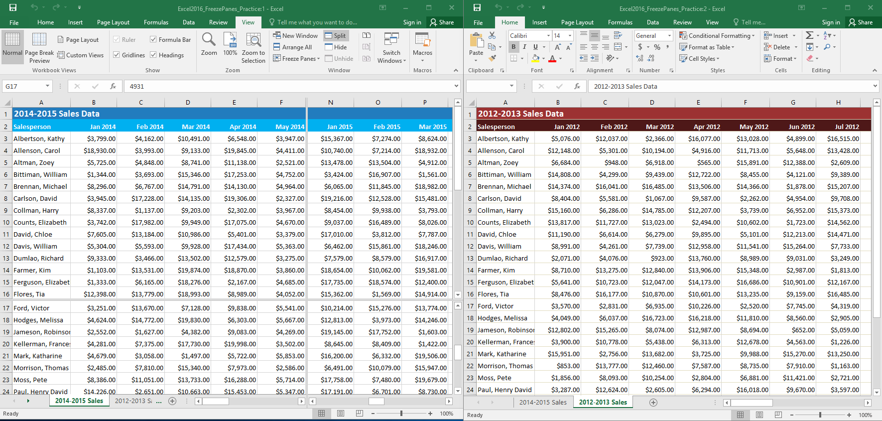 Excel 2016 freezing panes and view options freezing panes challenge ibookread ePUb