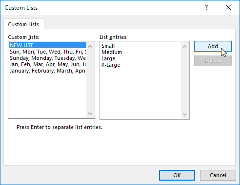 The Custom Lists dialog box