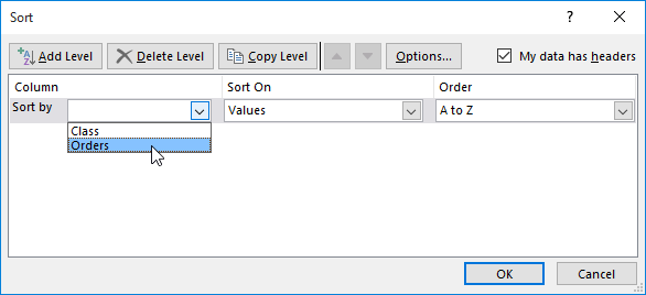 Excel 2016: Sorting Data