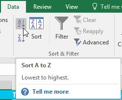 Excel 2016: Sorting Data