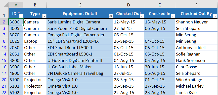 Filter kustom telah diterapkan ke worksheet