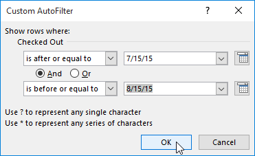 The date filter dialog box
