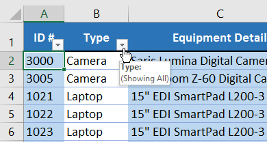 Dropdown arrows in the header row