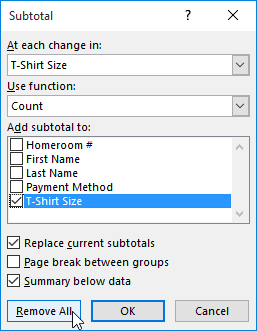 Removing subtotals in the Subtotal dialog