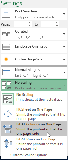 The Scaling drop-down menu on the Print pane