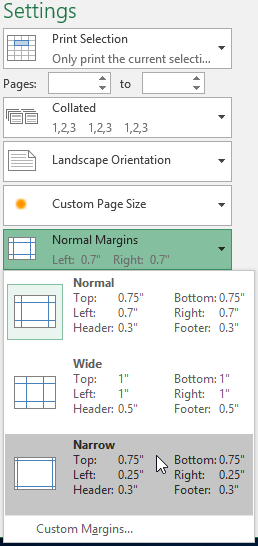 The Page Margins menu on the Print pane.