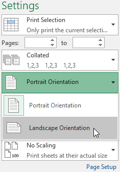 The Page Orientation menu on the Print pane