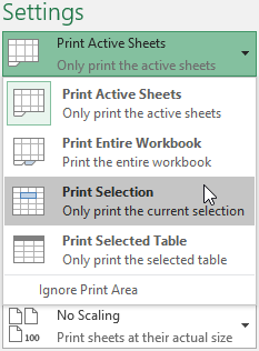 Set the Print Range to Print Selection