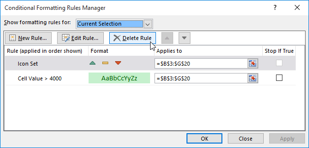 The Conditional Formatting Rules Manager