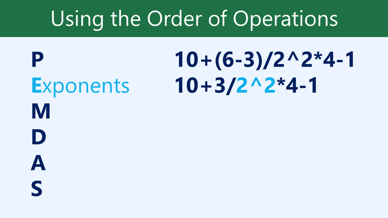 E eksponen: 10 + 3/2 ^ 2 * 4-1