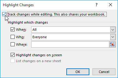 The Highlight Changes dialog box