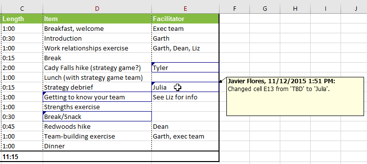 Changes in an Excel worksheet