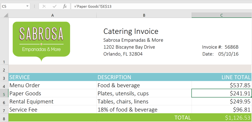 Tab Catering Invoice