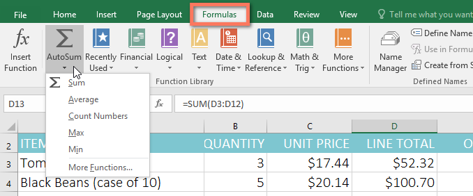 AutoSum command on Formulas tab