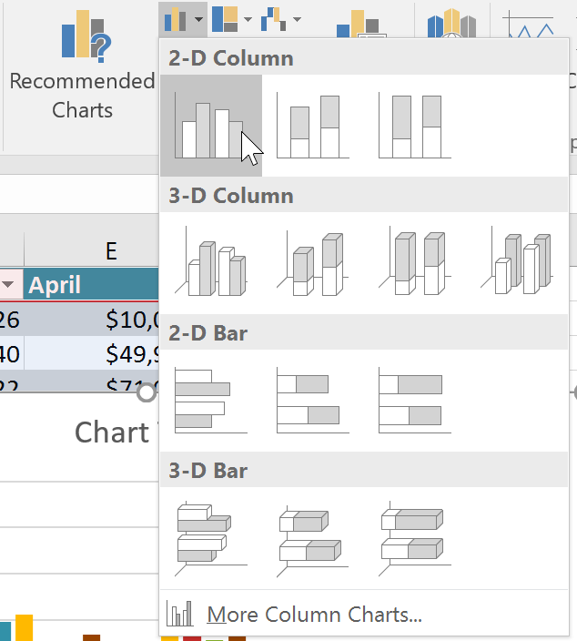 Selecting a chart type