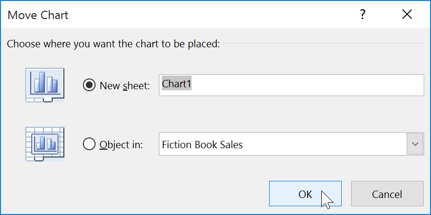 Selecting OK button to close dialog box