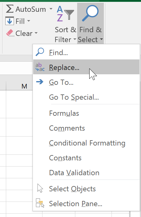 Selecting Replace from the drop-down menu
