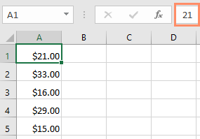 The actual value in the formula bar