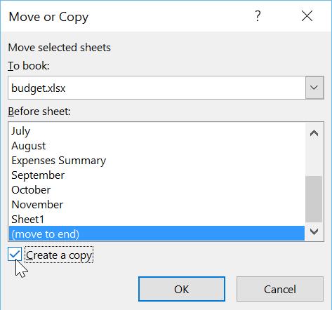 اختيار خيارات نسخ  ورقة العمل  في مربع الحوار the dialog box