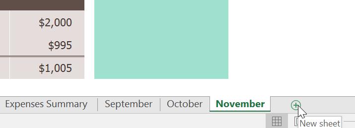 إضافة ورقة عمل worksheet جديدة