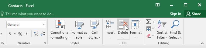 النقر على أمر الحذف delete command