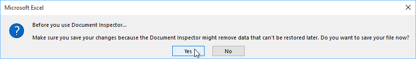 Document Inspector warning