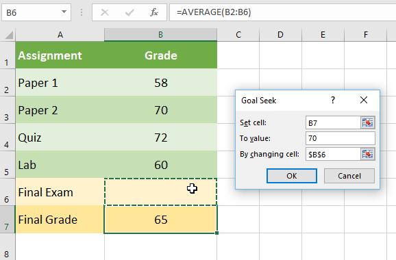 mengatur parameter pada kotak dialog goal seek