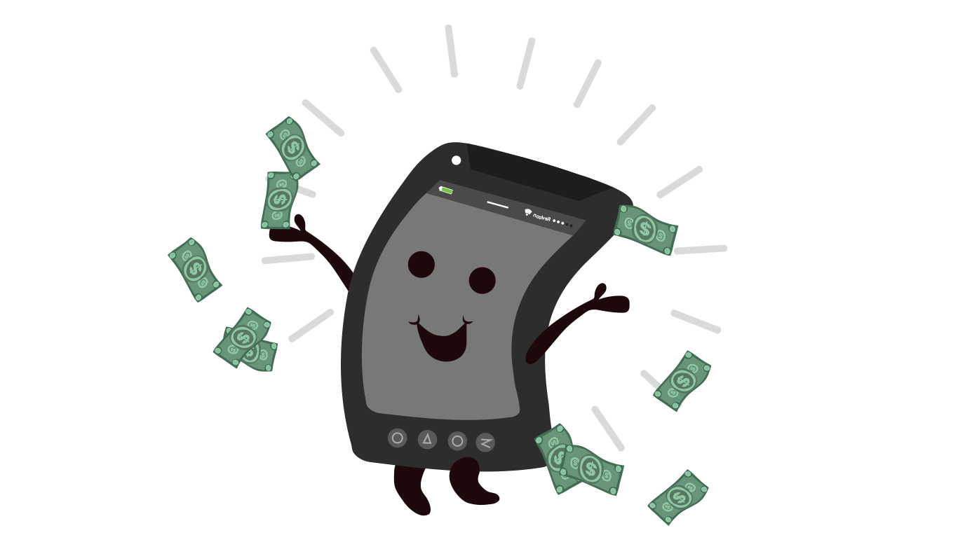 illustration of a cellphone with dollar signs