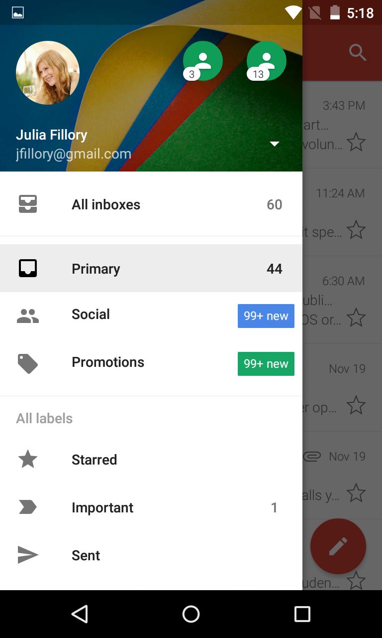 The menu in Gmail