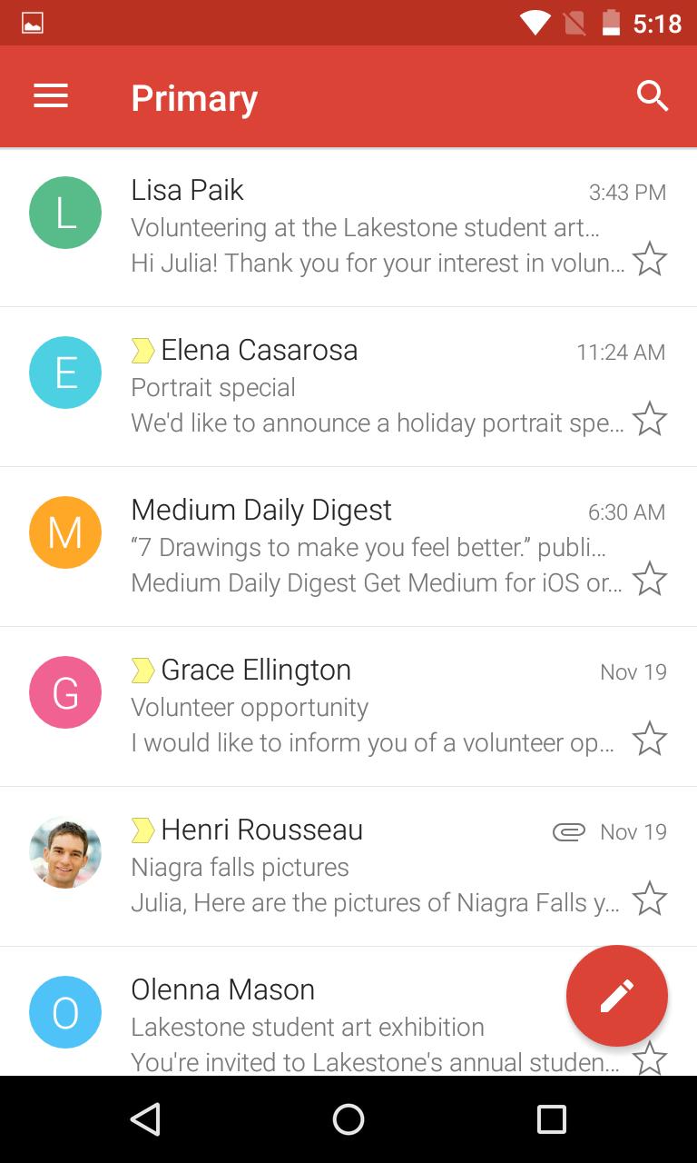 Navigating the main inbox