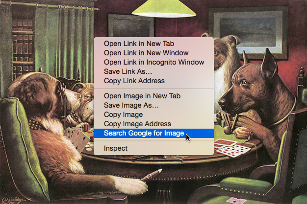 Starting a search by image in the context menu.