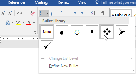Selecting a style from the bullets menu