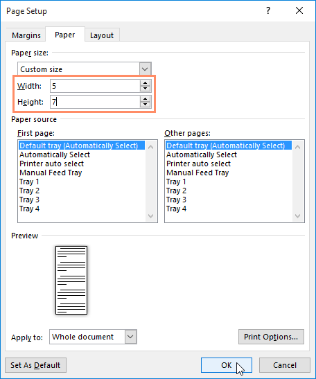 Adjusting page size