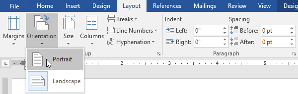 word 2016 page layout