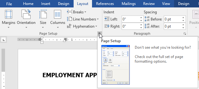 Opening the Page Setup dialog box