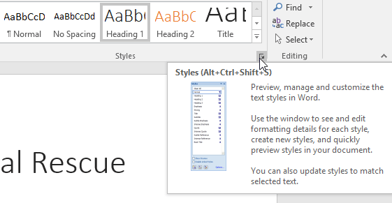 clicking the arrow in the bottom-right corner of the Styles group